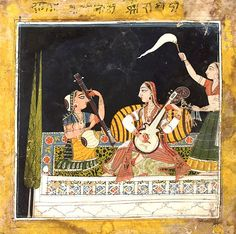 Karnati ragini. 1680 - 1700.  Painting ink and gouache on paper.  India, Punjab Hills, Basohli. Karnati sits playing a stringed instrument facing another female musician playing another stringed instrument. A attendant stands to the right holding a fly-whisk.