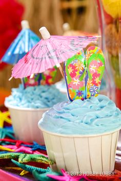 Add flip flop cupcake picks and an umbrella to your cupcakes to make easy and wonderful decorations!