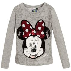 Desigual Girls Grey 'Minnie Mouse' Sequin Top at Childrensalon.com