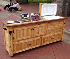 Rustic Cooler Cabinet, Outdoor Bar, Serving Table with Storage Drawers, ADD a Big Green Egg, Kamado Joe or Primo Outdoor Buffet, Diy Outdoor Bar, Outdoor Storage, Rustic Outdoor, Outdoor Ideas, Outdoor Kitchen Cabinets, Outdoor Kitchen Design, Outdoor Kitchens, Kitchen Decor