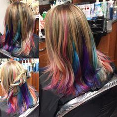 Funfetti cake hair for @kravgirl21 ✨ #rainbowhair #funfetti #mermaidhair #prettyhair #unicornhair #underlights #balayage #secretrainbow #unicorntribe