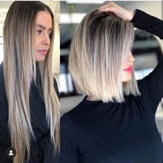 Before and after haircut styles for 2020   Just Trendy Girls Medium Hair Styles, Short Hair Styles, Before And After Haircut, Brunette To Blonde Before And After, Before After Hair, Brown Blonde Hair, Blonde Honey, Honey Hair, Shoulder Length Hair