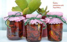 Ντομάτες λιαστές, έτσι ή αλλιώς… Mason Jars, Glass Vase, Canning, Table Decorations, Home Decor, Kitchen, Food, Homemade Home Decor, Cooking