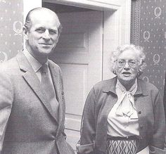 """Prince Philip (Philip Mountbatten) (1921-living2015) Greece-Duke of Edinburgh, UK & Margaret """"Peg"""" Campbell Geddes (1913-1997) UK by unknown photographer. Grand Duke Louis V """"Lu"""" (Ludwig V) (1908-1968) Hesse & wife Peg had very close ties with the House of Windsor, UK."""