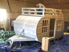 wooden trailer playhouse for kids