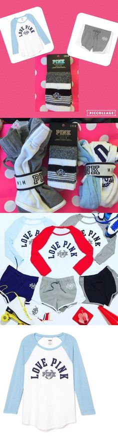 Shirts Tops 50990: New Victoria S Secret Pink Baseball Tee Shirt And Shorts Socks Set M Outfit Blue -> BUY IT NOW ONLY: $75 on eBay!