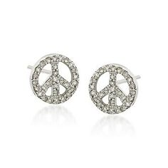 Diamond Peace Sign Earrings In 14kt White Gold, love these!
