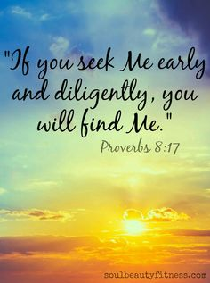 17. I love them that love me; and those that seek me early shall find me. 18. Riches and honourarewith me;yea, durable riches and righteousness. 19. My fruitisbetter than gold, yea, than fine gold; and my revenue than choice silver. PROVERBS 8:17-19