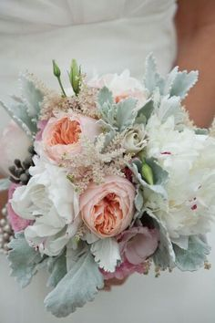 {Bridal Bouquet Featuring: White Peonies, Peach English Garden Roses, Pink Astilbe, Pink Ranunculus, Pink Lisianthus, Silver Brunia, White Spray Roses, Broad Leaf Dusty Miller}