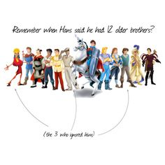 Hans's 12 Older Brothers... Hahahaha! It all makes sense now. That is so something Flynn, Naveen, and Kuzco would do