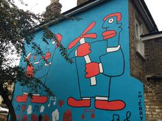 New Thierry Noir Mural In Peckham Is Homage To Poussin - Striking red and blue artwork appears near Bellenden Road. Thierry Noir, Dulwich Picture Gallery, Blue Artwork, South London, Outdoor Art, Land Art, British Isles, Urban Art, Rue