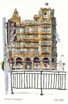 Jenners, Edinburgh by Chris Lee Travel Illustration, Illustration Sketches, Art Sketches, Illustrations, Watercolor Sketch, Watercolor Landscape, Chris Lee, City Sketch, Building Sketch