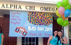 "Alpha Chi Omega - Gamma Tau's Bid Day theme was Up! ""Together let us seek the heights!"""