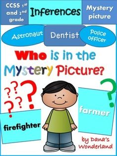 """Inference : Learn how to make inferences in a FUN way! Read the passages and use higher order thinking skills to discover who is in the """"mystery"""" pictures!Change the hard task of making inferences into a game!The """"Who is in the Mystery Picture?"""" product is a great way to practice some very important skills in reading:infer information that is not explicitly stated in the text and identify the clues in the text that helped you make the inference.The product contains 50 pages that help you te...."""