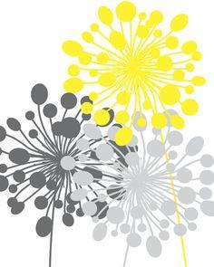 Abstract Floral Dandelion Art Prints Set of 10 or // Grey Yellow // Modern Flower Home Wall Art Decor, Unframed - New Deko Sites Abstract Wall Art, Canvas Wall Art, Wall Art Prints, Painting Abstract, Painting Art, Home Wall Art, Wall Art Decor, Dandelion Art, Art Moderne