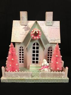 I've been busy these last couple of weeks working on the these two Melissa Frances DIY Houses for Whim So Doodle . These were time con. Shabby Chic Christmas, Pink Christmas, All Things Christmas, Christmas Home, Vintage Christmas, Christmas Crafts, Christmas Ornaments, Xmas, Christmas Ideas