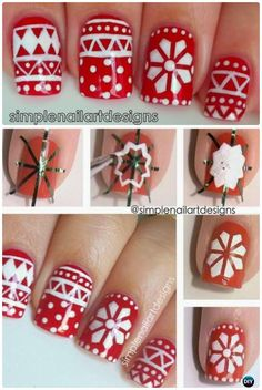 Holiday Sweater Nail Art Instruction-DIY Christmas #NailArt Ideas
