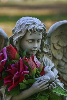 Guardian angel with roses