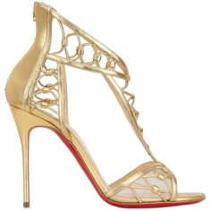 CHRISTIAN LOUBOUTIN 100mm Martha Metallic Leather Sandals - Gold (9,690 CNY) ❤ liked on Polyvore featuring shoes, sandals, heels, christian louboutin, sapatos, gold, metallic gold sandals, high heel shoes, christian louboutin shoes and gold sandals