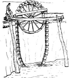 """Water lifting devices~The original version of this, which is ancient in origin but still widely used, was known as a """"Persian wheel""""; the earliest forms consisted of earthenware pots roped in a chain which is hung over a drive wheel..."""