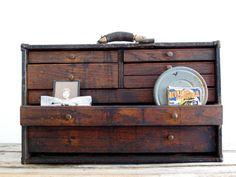 Vintage Machinist Wood Toolbox  - Antique Tool Box / Toolbox - Industrial Decor - Jewelry Box
