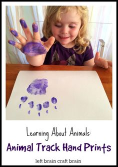 Learn about animals through the foot prints that they make.  Learning About Animals: Animal Track Hand Prints from Left Brain Craft Brain.