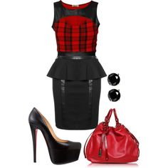 """""""Red Leather tartan"""" by rko4eve on Polyvore"""