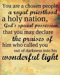 1 Peter 2:9 - But you are a chosen race [people], a royal priesthood, a dedicated [holy] nation, [God's] own purchased, special people, that you may set forth [declare] the wonderful deeds and display the virtues and perfections of Him who called you out of darkness into His marvelous light.