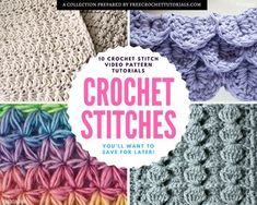 Learn To Crochet Your Way With Free Photo and Video Tutorials! 10 Crochet Stitches demonstrated on Video You'll Want to Save For Later!