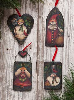 Holiday Ornaments by Maxine Thomas from the book Country Primitives 18. Book and wood surface available at www.ArtistsClub.com