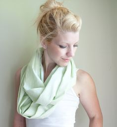 Just purchased this! ---infinity scarf cowl handdyed - soft mint - lightweight cotton. $13.95, via Etsy.