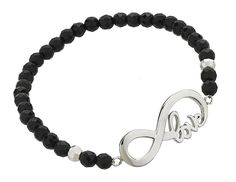 925 Sterling Silver and Black Onyx Gemstone Infinity in Love Beaded Stretch Bracelet >>> Be sure to check out this awesome product.