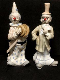 Vtg Pair Ceramic Clown Playing Cymbals and Masks by Price Products Taiwan Pierrot Clown, Cayman Islands, Brunei, Clowns, Grenada, Cambodia, Sri Lanka, Trinidad And Tobago, Taiwan