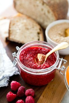 Raw Raspberry Chia Jam: let everyone think you slaved over this for hours...instead of minutes.**