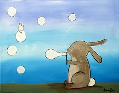 Kids Wall Art  Bubble Blowing Rabbit Painting by andralynn on Etsy, $100.00