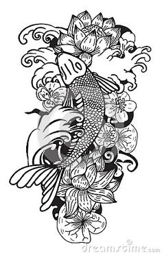 Black and white Koi fish vector,Hand drawn Japanese Tattoo design,Japanese carp line drawing coloring book vector image
