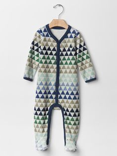 Geometric fair isle velour footed one-piece