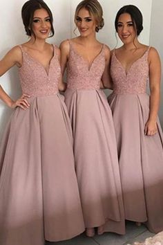 Pink V-neck Long A-line Simple Cheap Bridesmaid Dresses,Bridesmaid Gowns,Modest Prom Dresses