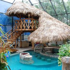 Fancy tiki house & pool