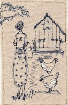 """Betty feeds the chickens"", embroidery art by Michelle Holmes Freehand Machine Embroidery, Free Motion Embroidery, Free Machine Embroidery, Vintage Embroidery, Embroidery Applique, Cross Stitch Embroidery, Embroidery Patterns, Embroidery Sampler, Thread Art"