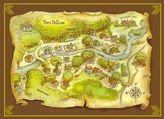Inspiration for the wedding invite map for out of town guests. Fern Hollow book, The Brass Band Robbery.