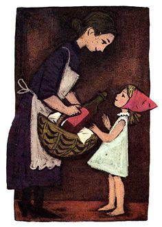 Diese Gesamtdarstellung des Märchens Rotkäppchen von Bernhard Nast erschien 1973 in dem Sammelband Märchen der Brüder Grimm.