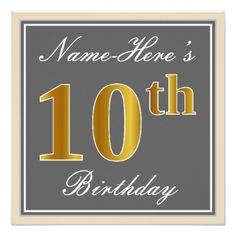 #Elegant Gray Faux Gold 10th Birthday  Name Card - #birthday #invitations