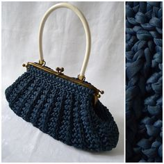 Vintage, 1950s/60s Large, Blue Knitted HANDBAG, Hinge frame/Push clasp, soft structure bag, Hand held Purse, Granny Chic