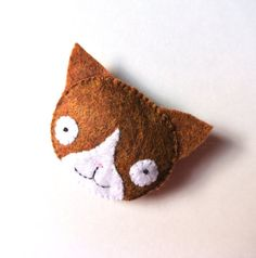Orange Brown & White Cat Felt Brooch Cute Handmade Felt by mikaart, $12.99