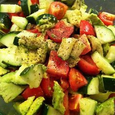 Cucumber, Avocado, and Tomato Salad with Balsamic Vinagrette