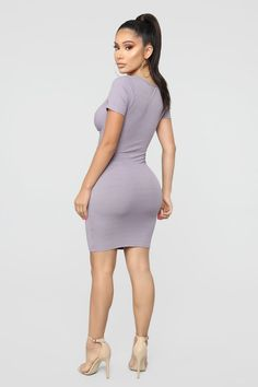 Knot My Business Ribbed Mini Dress - Lavender – Fashion Nova Dope Outfits, Simple Outfits, Dress Outfits, Fashion Outfits, Women's Dresses, Fashion Nova Models, Plus Size Fashion For Women, Hot Dress, Elegant Dresses