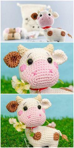 Crochet Cow, Crochet Amigurumi Free Patterns, Crochet Animal Patterns, Cute Crochet, Crochet Crafts, Crochet Dolls, Crochet Projects, Creations, Knitting