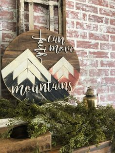 Reclaimed wood art faith can move mountains wood sign Diy Wood Projects, Wood Crafts, Christian Wall Decor, Christian Signs, Christian Art, Reclaimed Wood Signs, Rustic Wood, Mountain Cabin Decor, Move Mountains