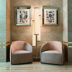 How Oasis Project Division can create a relaxing corner in the most prestigious Hotels, furnishing and decorating ambients to create coordinated, recognizable and sophisticated atmospheres. Febe armchair and  Flower floor lamp